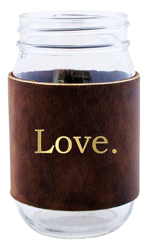 Mason Love Jar With Leather Band