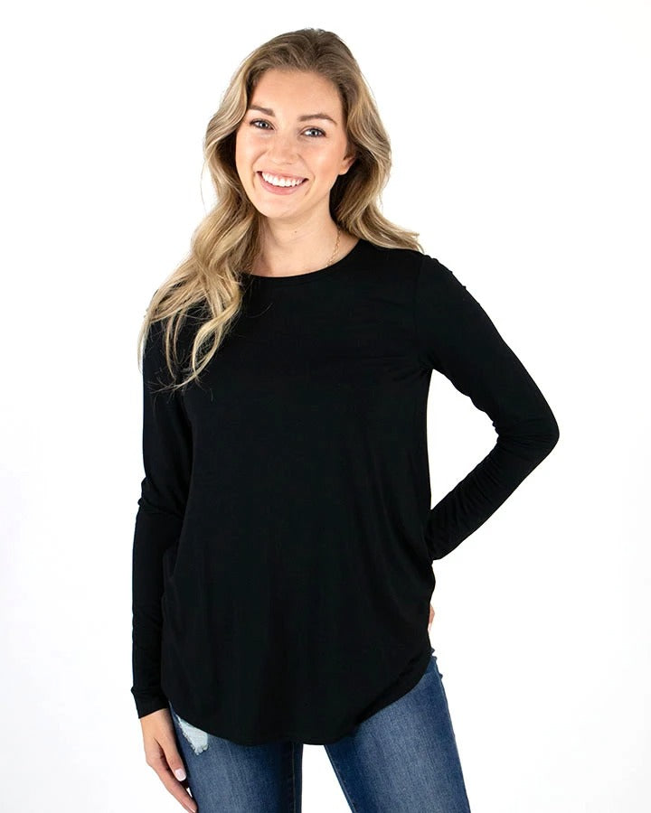 Long Sleeve Perfect Crew Neck Tee by Grace & Lace, Black