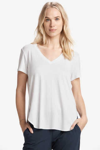 Agda White V-Neck