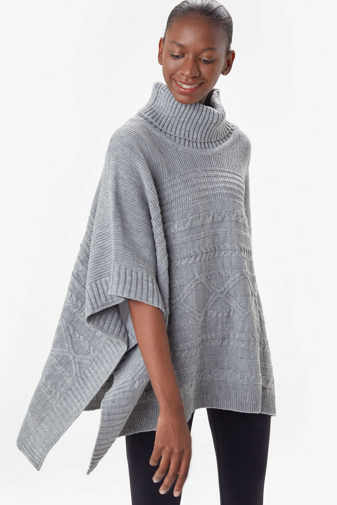 Inverness Poncho by Lolë, Light Grey Hether