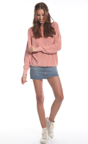 Delia Double V-Neck Sweater In Rose