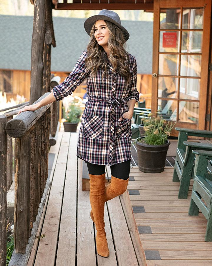 Stretch-Flex Flannel Plaid Dress by Grace & Lace, Ivory Multi