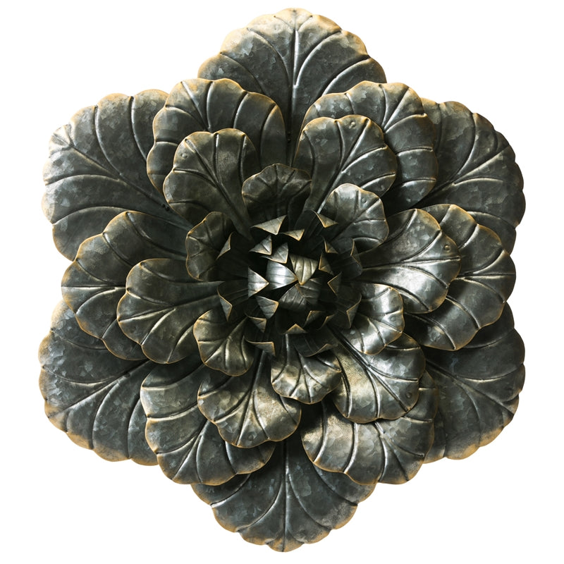 Large Galvanized Metal Flower with Gold Edges