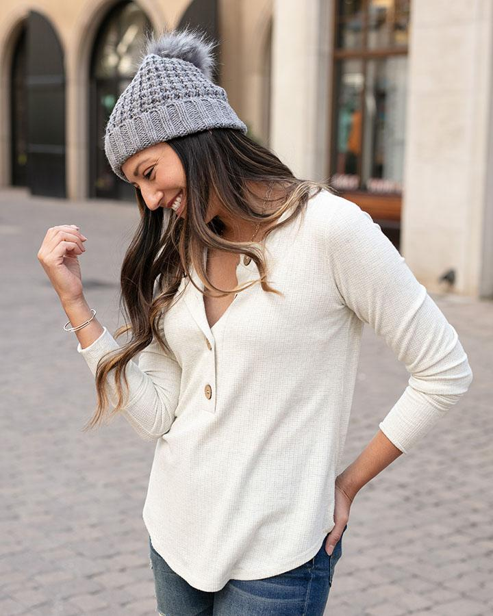 Large Button Layer Tee by Grace & Lace, Oatmeal