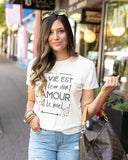 Perfect Crew Neck Graphic Tee by Grace & Lace, French Cream