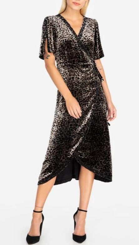 Johnny Was Velvet Leopard Wrap Dress