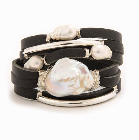 Lively Silver Black Shred Bracelet