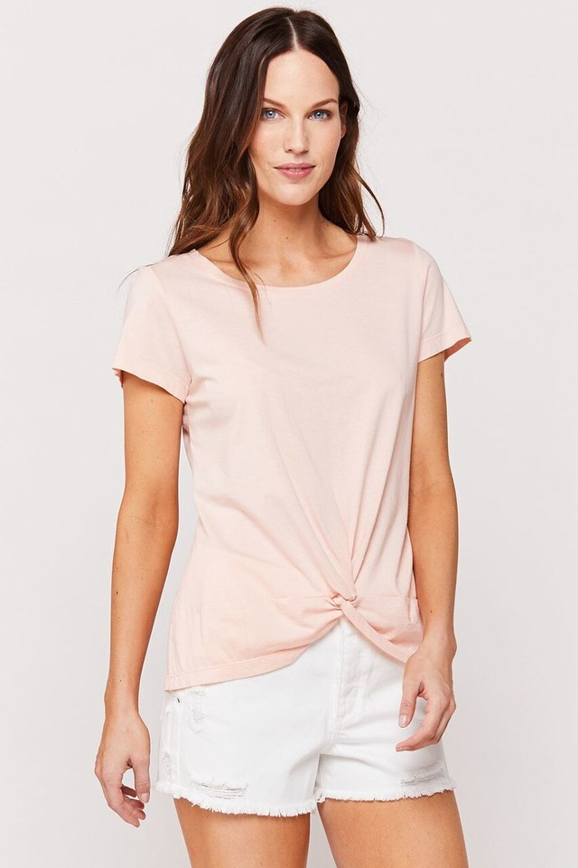 Lizette Twist Front Tee, Peach