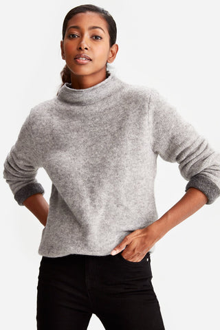 Lole Two-Toned Sweater in Medium Grey Heather