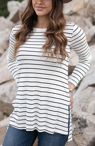 Grace & Lace 'Long Sleeve Tunic Tee' - White With Black Stripes