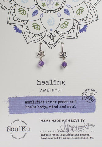 Amethyst Lotus Earrings For Healing