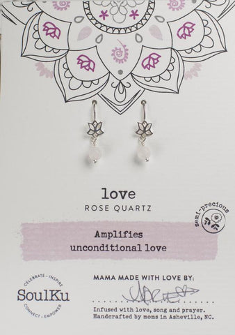 Rose Quartz Lotus Earrings For Love