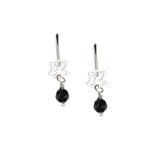Black Onyx Lotus Earrings For Strength
