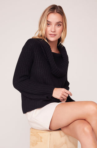 Love Actually Cowl Neck Sweater in Black