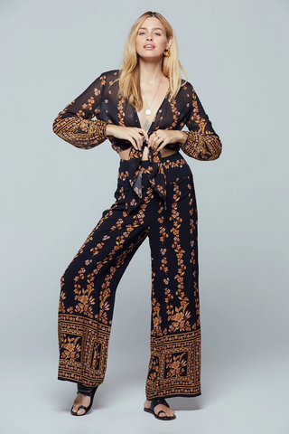 Luxor Black Border Print Pants