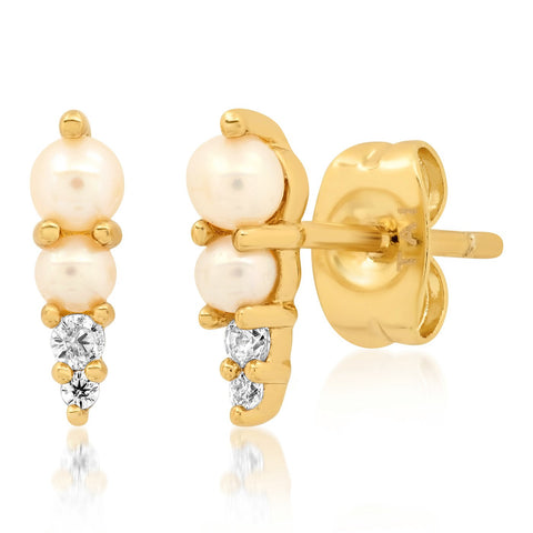 Pearl & CZ Spike Earrings, Gold