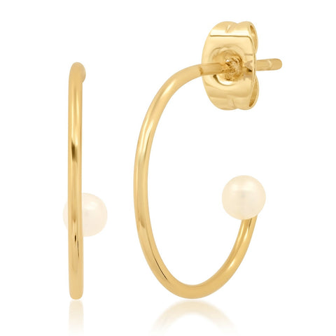 Pearl Accent Hoop Earrings, Gold