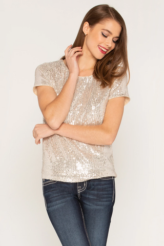 Miss Me Sequin Top in Champagne