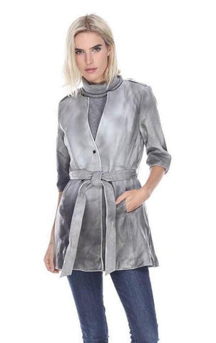 My Tribe Alice Dip Dye Long Leather Jacket In Grey