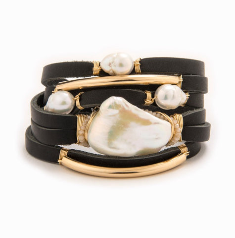 Maeve Black Leather Shred Bracelet with 14k gold fill tubes and freshwater pearls