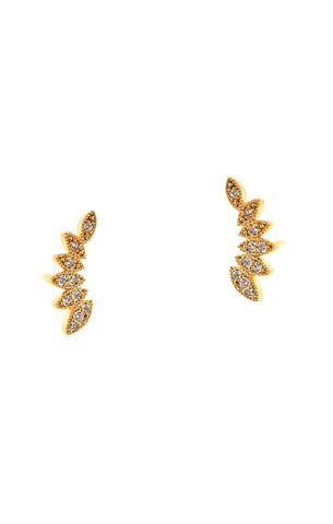 Marquis Shaped Gold Crawler Earrings With Czs