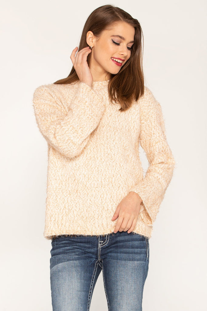 Steady in Style Fuzzy Metallic Champagne Sweater
