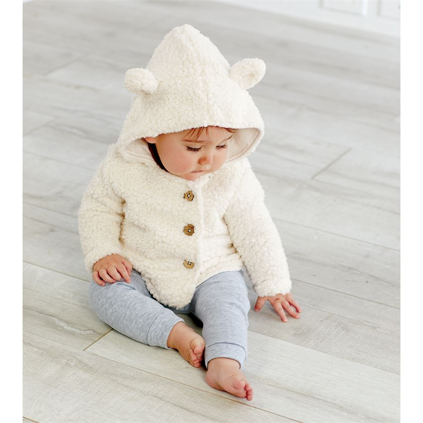 Baby Sherpa Hoodie with Bear Ears and Tail in Ivory