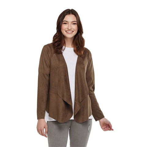 Sammy Draped Faux Suede Jacket in Olive