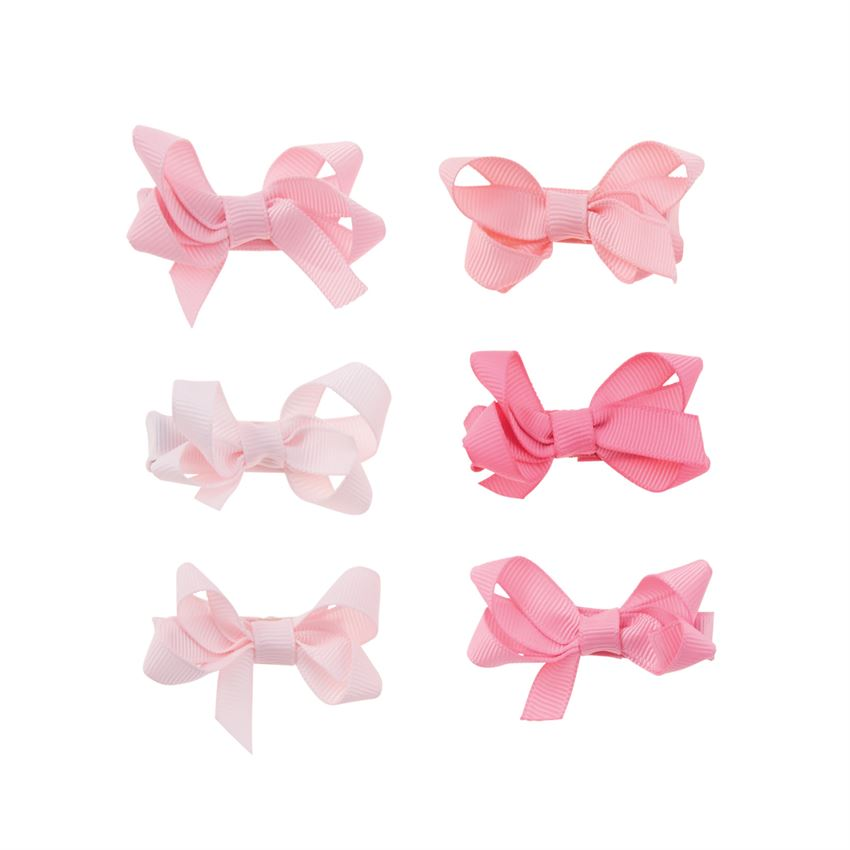 Pink Grosgrain Bitty Bow Clips Set
