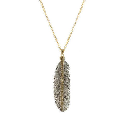 Tat2 Designs Large Casbah Feather Necklace In Silver