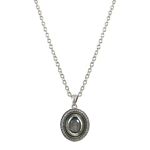 Tat2 Designs Jewelry Talen Vintage Silver Labradorite Necklace