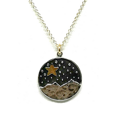 Star And Mountain Pendant Necklace Gold Fill
