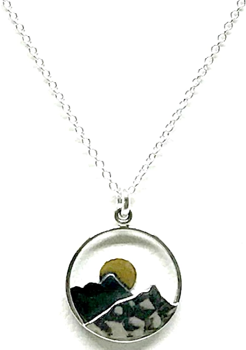 Neve Moon & Mountain Pendant Necklace