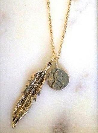 Petite Penny With Feather Necklace