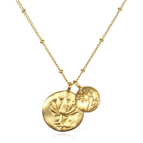 'Two Blooms' Lotus Necklace