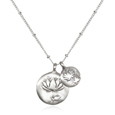 'Two Blooms' Lotus Necklace In Silver