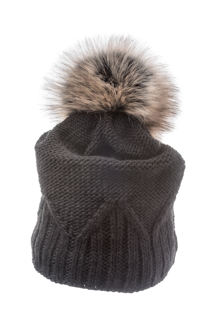 Nadia Charcoal Beanie with faux fur pom pom