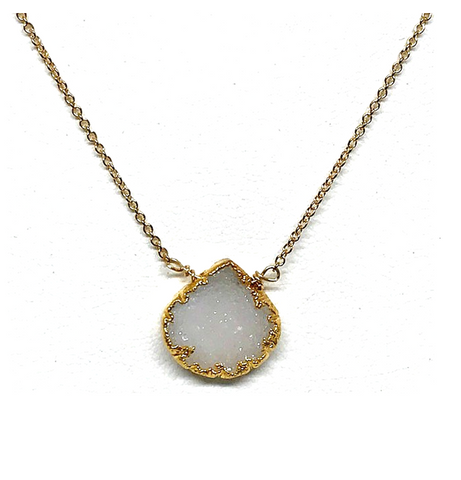 Adel White Druzy Necklace On Gold Chain