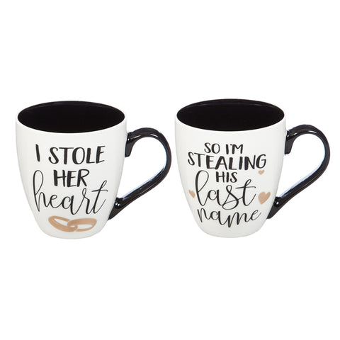 """I stole her heart"" and ""So I stole her last name"" mug set for newlyweds"