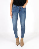 Non-Distressed Designer Denim Button-Fly, Mid-Wash