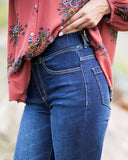 Grace & Lace Classic Mid Rise Pull On Jeggings in Dark Denim