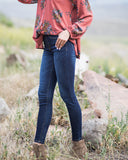 Classic Mid Rise Pull On Jegging In Dark Denim