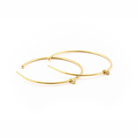 Gold Hoop Earring with CZ Charm