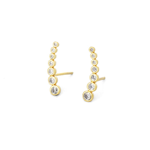 Cubic Zirconia Climber Post Earrings