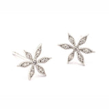 Flower Post Earrings, Silver