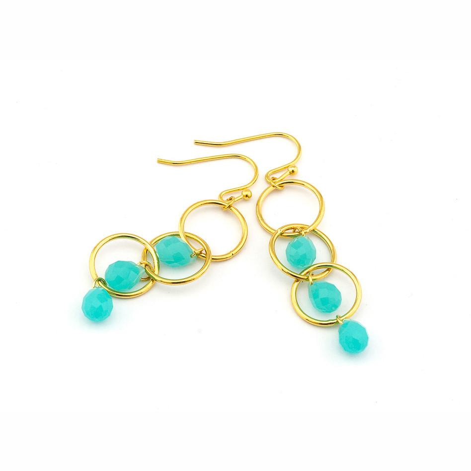 Circle Drop Earrings, Mint