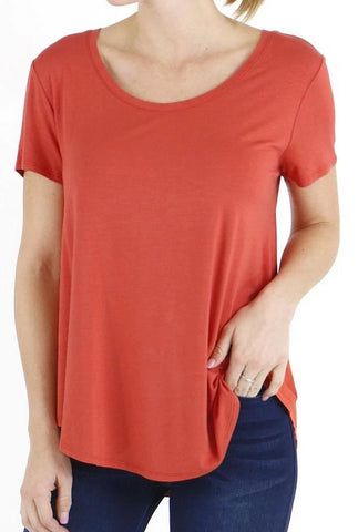 Grace & Lace Perfect Scoop Neck Tee In Papaya