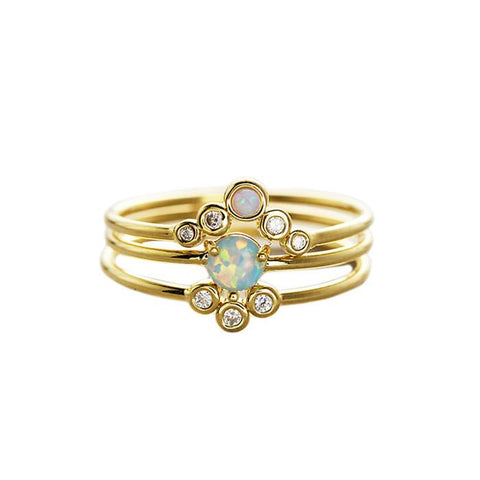 Triple Opal CZ Stack Rings, Gold