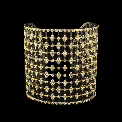 Large Gold Lace Cuff With Pave Diamond Shapes