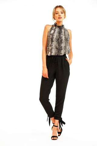 Veronica M Cady Tie Cuff Joggers In Black Bubbles